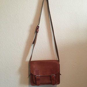 Leather vintage dual clasp bag