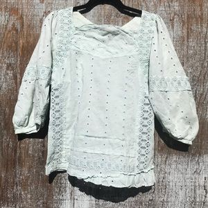 Marc by Marc Jacobs mint eyelet top size 0