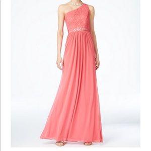 French coral (pinkish orange) formal dress