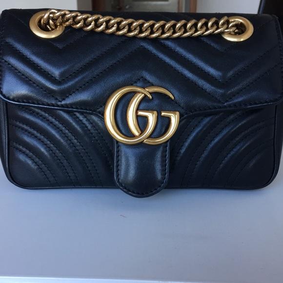 2c04ab5018b4 Gucci Bags | Mini Gg Marmont Matelasse Black Leather | Poshmark