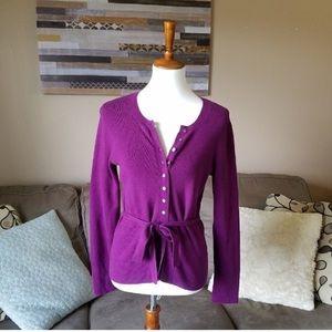 Banana Republic Purple Tie Waist Cardigan