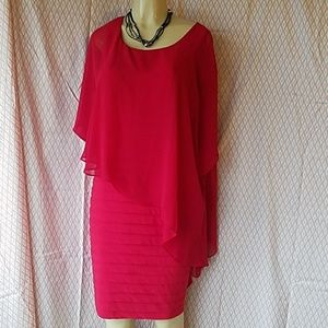 ADRIANNA PAPELL,  COCKTAIL RED DRESS, SIZE 16 !!!