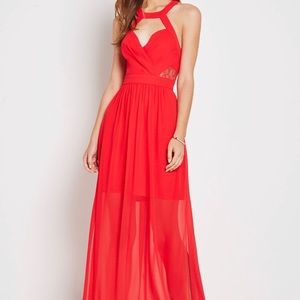BCBGeneration Red Lace Trim Evening Dress