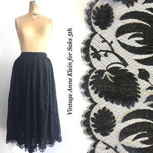 Vintage Anne Klein Lace Skirt for Saks 5th, black