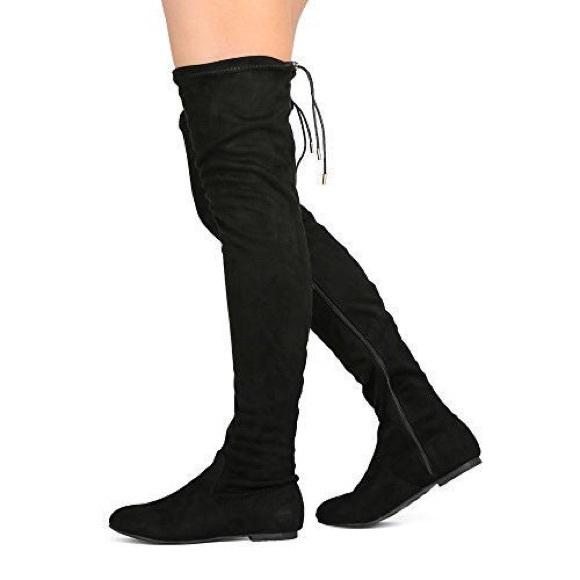 Black Over The Knee Flat Boot | Poshmark
