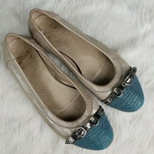 AGL Gold Leather Teal Blue Cap Toe Flats Shoes