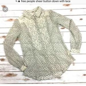 Free People sheer floral and lace blouse size XS