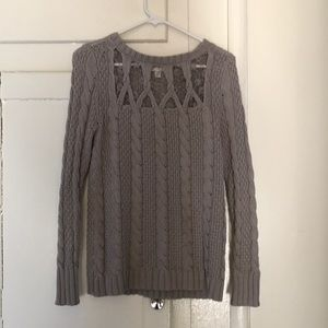 Grey sweater with lace detail on front