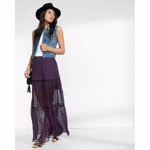 NWOT Express Purple Tiered Sheer Maxi Skirt Sz XS