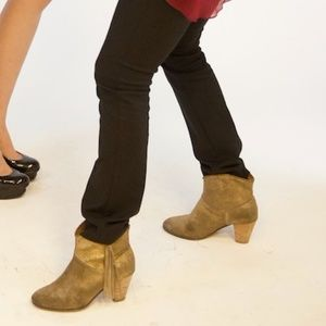 Maje gold booties with fringe