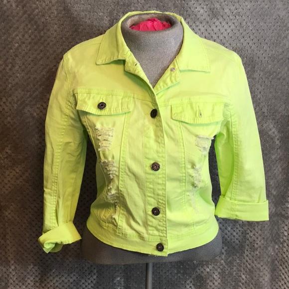 8b1deb7eff Bongo distressed neon green denim jacket