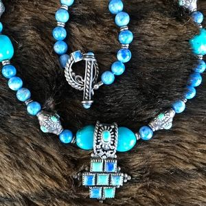 NEW Turquoise Beaded Choker w/Pend & Silver accs