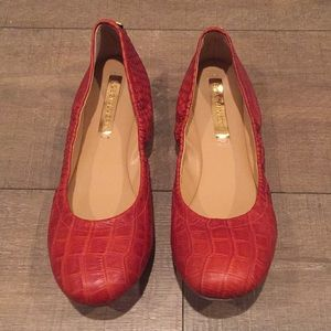 BCBG Max Azria Croc Stamp Red Flats