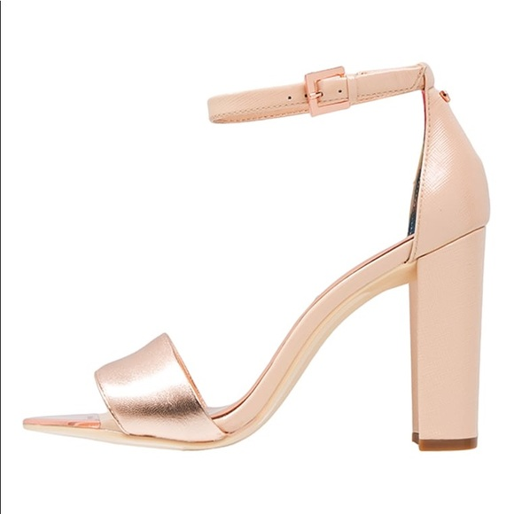 35c7841bf78 Ted Baker pink and rose gold chunky heels. M 5a287b02eaf03034da0012d0