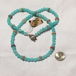 Jewelry - NWT Boutique Aqua Crystal Beaded Necklace