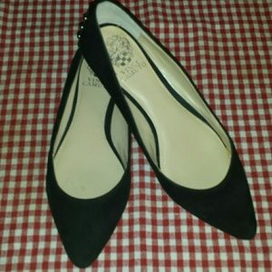 Black suede Vince camuto studded flats 8W