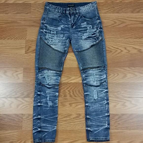 rue 21 jeans mens 30x30 moto biker skinny flex rip poshmark