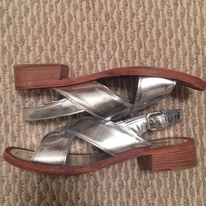 Gorgeous authentic Prada silver sandals size 39