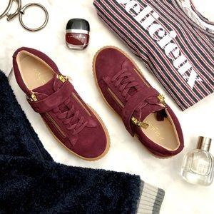 Burgundy Suede Platform Creepers / Sneakers