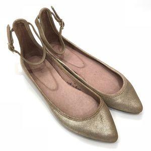 Joie Temple Metallic Gold Ankle Strap Flats Sz 6