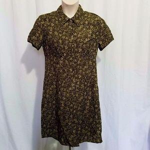 Emma James 12 Shirt Dress Olive Green Floral Midi