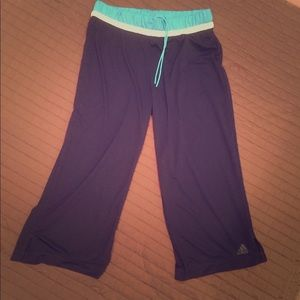Adidas Navy Climalite Athletic Capri Pants SZ S