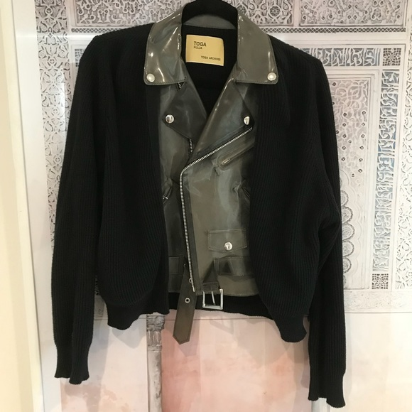Toga Pulla vinyl biker jacket / sweater , S
