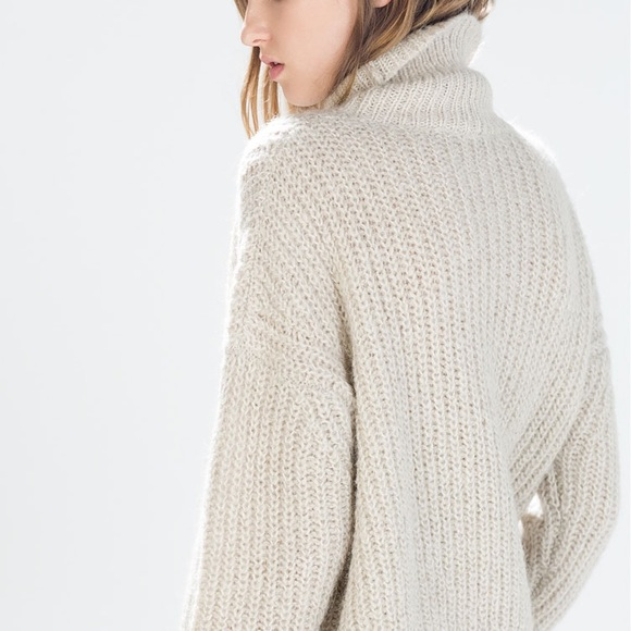 c003f4bb Zara Sweaters | Last Onelight Beige Chunky Knit High Neck Sweater ...