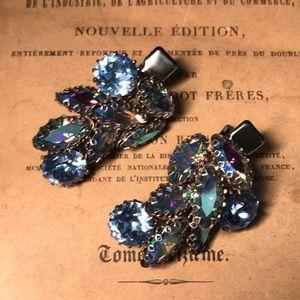 Vintage gorgeous blue aurora borealis hair clips