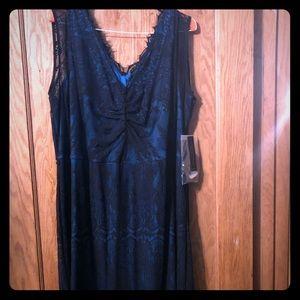 Gorgeous LANE BRYANT Black/turquoise dress. NEW