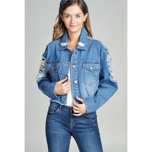 Jackets & Blazers - New!! Cropped Denim Distressed Jacket