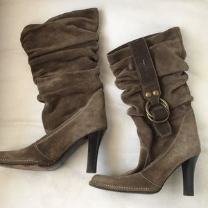 coach suede slouch heeled boots