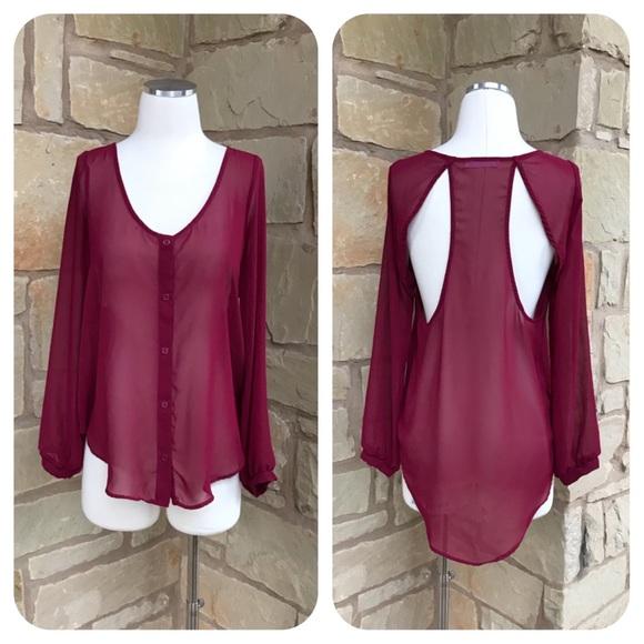 Lush Tops - Lush Long Sleeve Semi-Open Back Red Sheer Blouse S