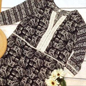 BOHO Tribal Elephant Crochet Detail Dress