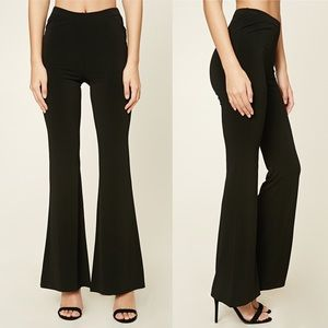 New Forever 21 Stretch Knit Flared Pants Black