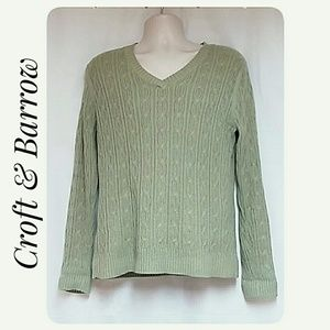 Woman's Croft &Barrow V-Neck Cable Knit Top Large