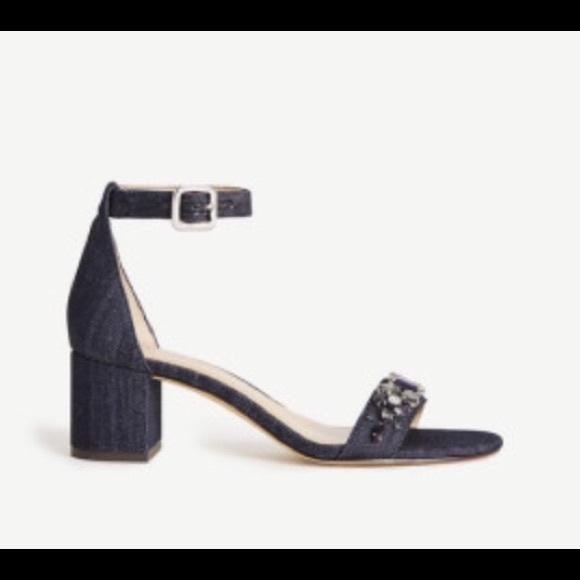 e5d96e91f65 Ann Taylor  Ireland  Denim Stone Block Heel Sandal
