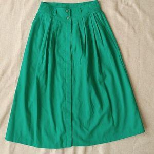 1980's High Waist Pleated Green Skirt - Size M