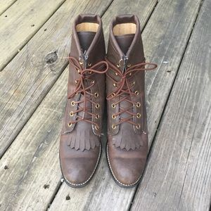 Brown Western Cowboy Lacers Boots 8.5