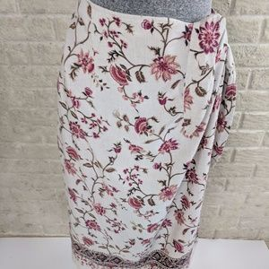 Emma James Size 16W Floral Boho Wrap Skirt