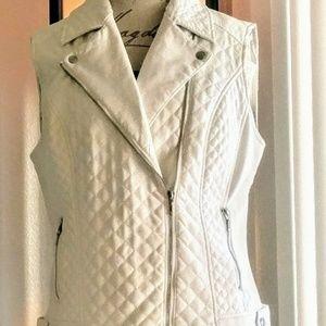 White Faux Leather Vest