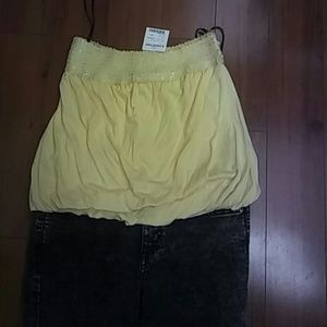 NWT yellow Bebe tube top.