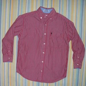 Boy's Izod Red striped button down shirt Small (8)