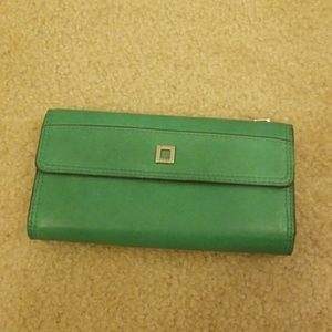 Lodis Tri-fold Leather Wallet Emerald Green