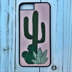 Accessories - iPhone 7+ embroidered cacti phone case