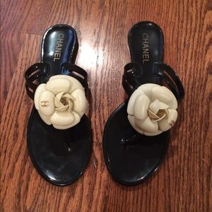 CHANEL Camellia Jelly Sandal Flip Flops 38