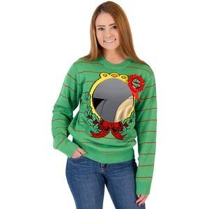 Sweaters - Women's Ugliest Sweater Humorous Christmas Mirror
