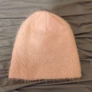 H&M millennial pink furry knit beanie
