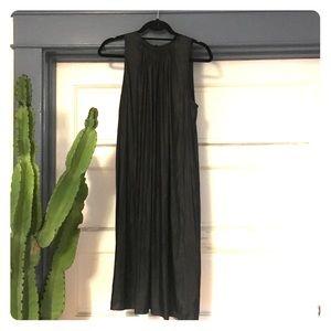 L'Agence Gunmetal Pleated Maxi Dress