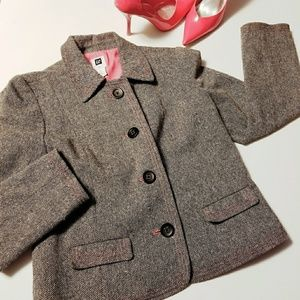 🌹GAP🌹 GRAY W/ PINK THREAD WOOL PEA COAT.